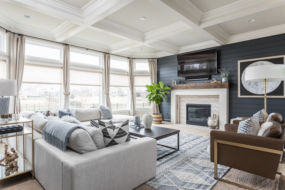 Inspiration for a coastal carpeted and brown floor family room remodel in Indianapolis with blue walls, a standard fireplace and a wall-mounted tv