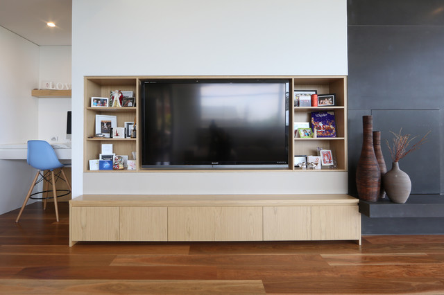 Beaumaris contemporary family room melbourne by for Modern built in cupboards