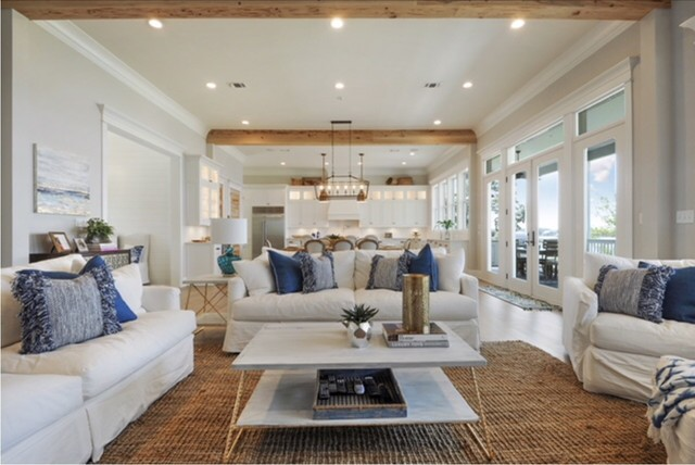 Family room - beach style family room idea in Other