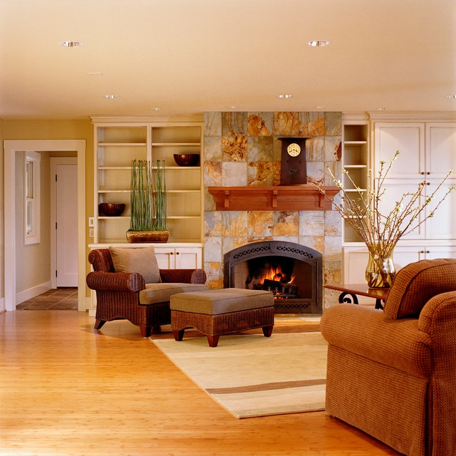 Beautiful fireplace settings traditional family room for Living room 6 portland