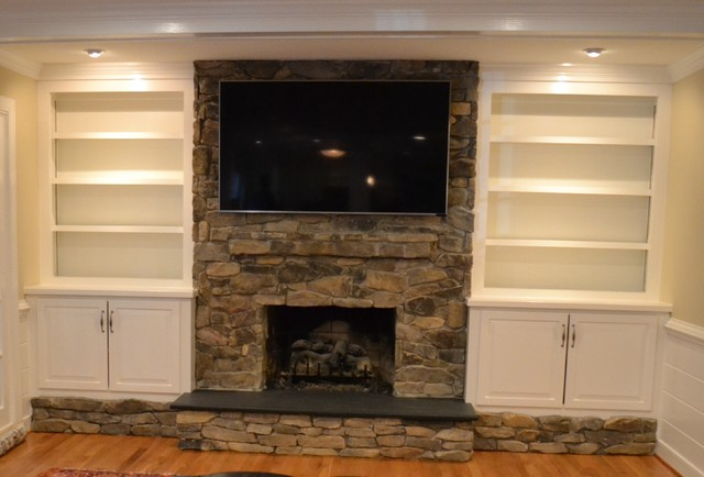 Before And After Kitchen Den Remodel Wjmtraditional Family Room Traditional Brick Fireplace