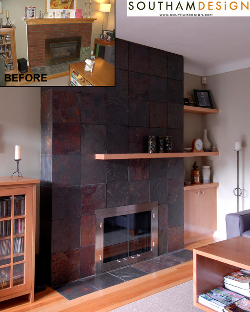 Before & After Project Photos contemporary-family-room