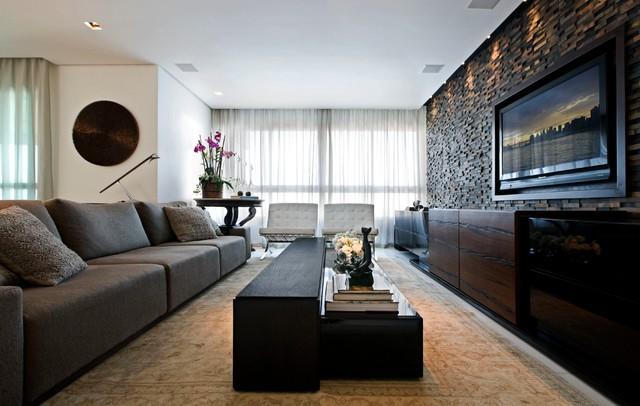Дизайн длинной прямоугольной  гостиной
