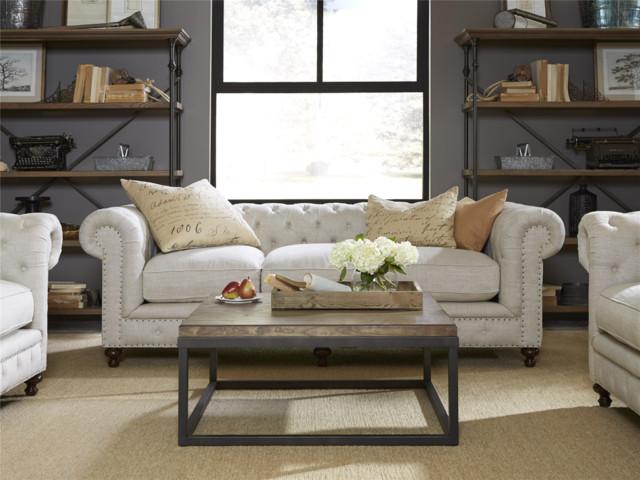 Berkeley 98 Tufted Linen Upholstered