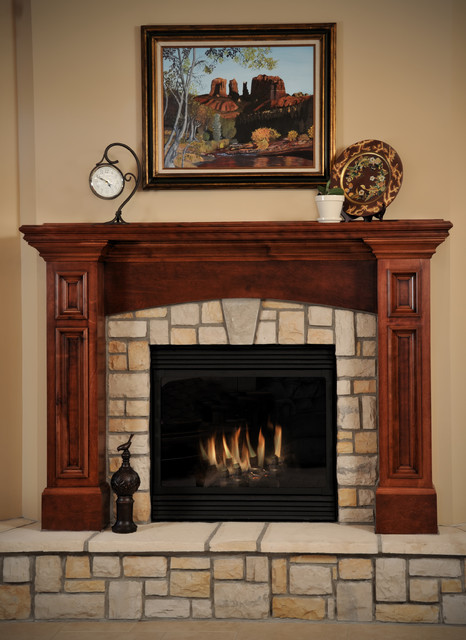 Birch cabinetry with cherry stain/finish. traditional-family-room
