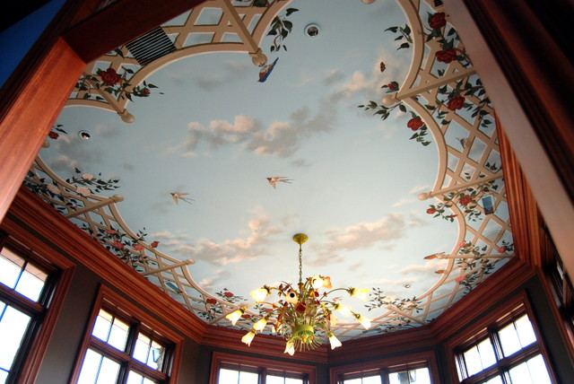 Bird Ceiling Mural by Tom Taylor of Wow Effects, in Virginia  eclectic-family-