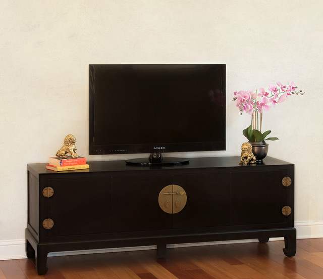 Black TV Stand Cabinet   Chinese Ming Style Asian Family And Games