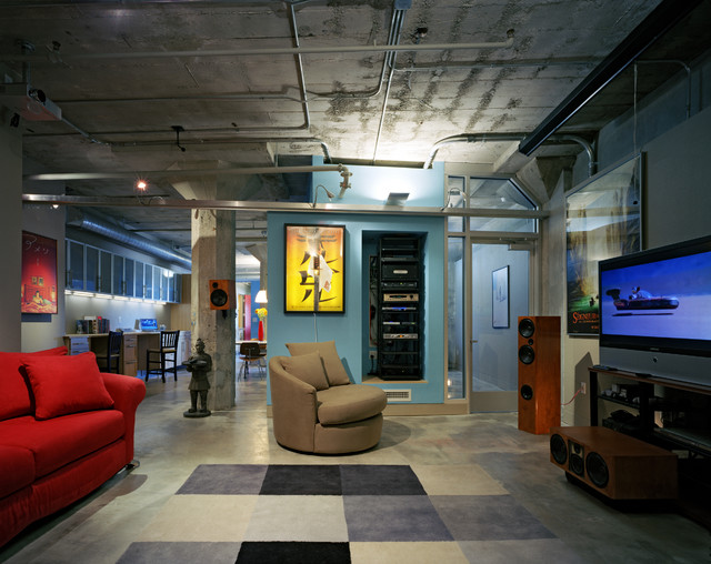 Blue Pickle Loft  Industrial  Home Theater  san francisco  by Paul Welschmeyer ARCHITECTS