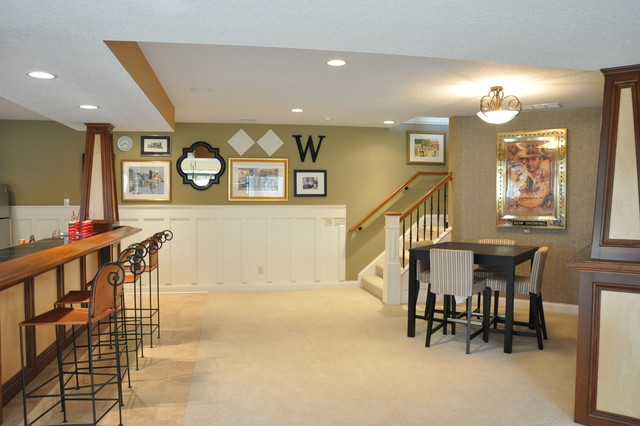 Board And Batten Basement Bar Traditional Family Room