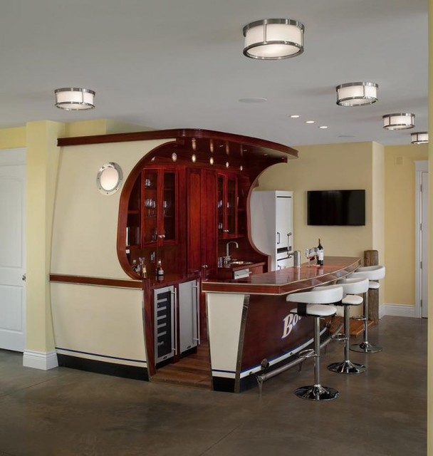 Boat Bar Beach Style Family Room Grand Rapids By