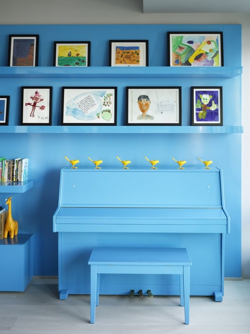 Bohemian Apartment Blue Wall with Piano