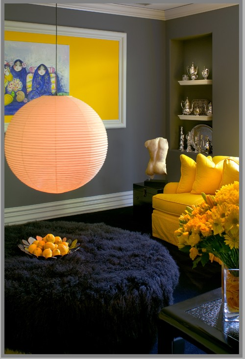 eclectic family room Color of the Month: Decorating with Yellow