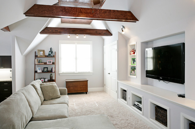guest room ideas in attic - bonus rooms Traditional Family Room raleigh by