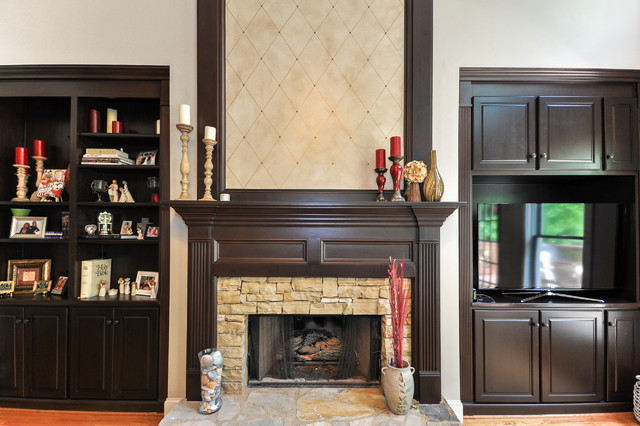 Bookcases and Fireplace Mantels traditional-family-room