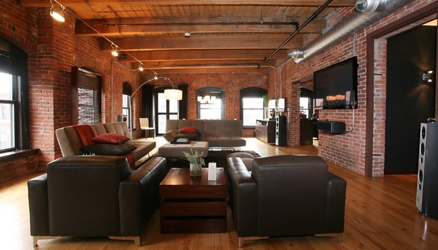 family room industrial open concept medium tone wood floor family room idea in boston with - The Living Room Boston