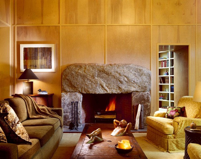 Boulder Fireplace eclectic family room