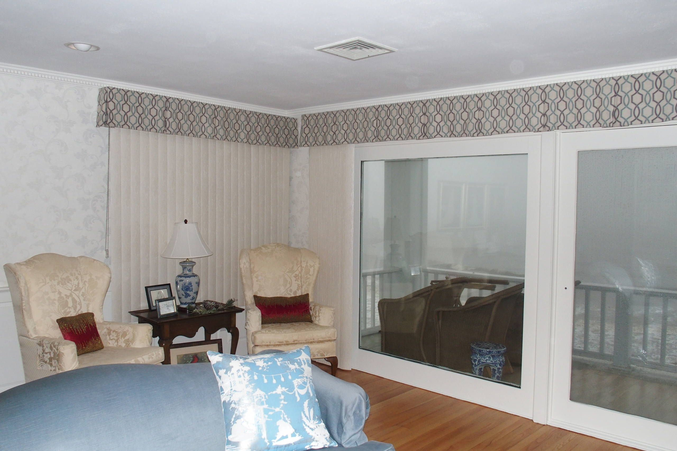 Box Pleat Valances on large windows by the water