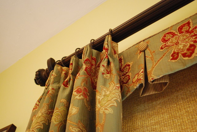 Box Pleated Valances with Buttons, Woven Roller Shades & Pleated Panels traditional-family-room