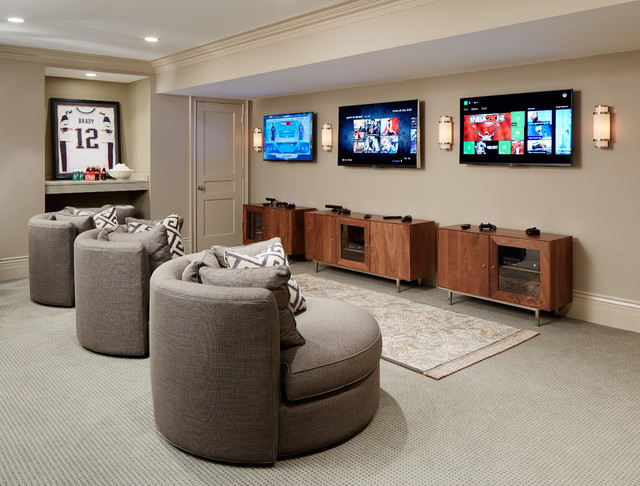 Example Of A Large Transitional Carpeted And Gray Floor Family Room Design  In Chicago With Beige