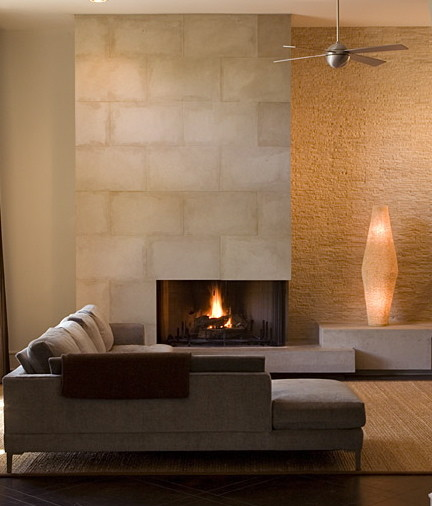 Bridlepath Modern Fireplace modern family room
