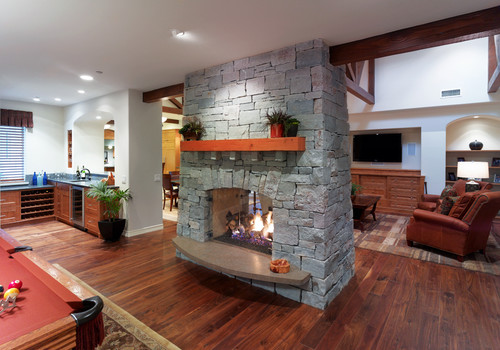 Making a double sided fireplace for Double sided fireplace design