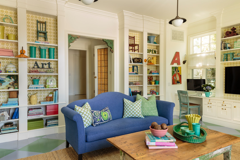 Large eclectic open concept painted wood floor and multicolored floor family room photo in Los Angeles with white walls and a wall-mounted tv