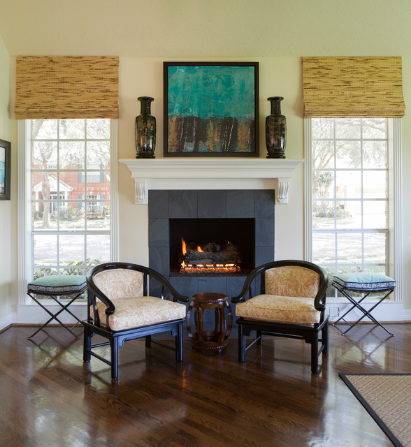 British Colonial Traditional Family Room Houston