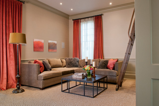 Inspiration For A Transitional Enclosed Carpeted Family Room Remodel In  Boston With Beige Walls Part 68