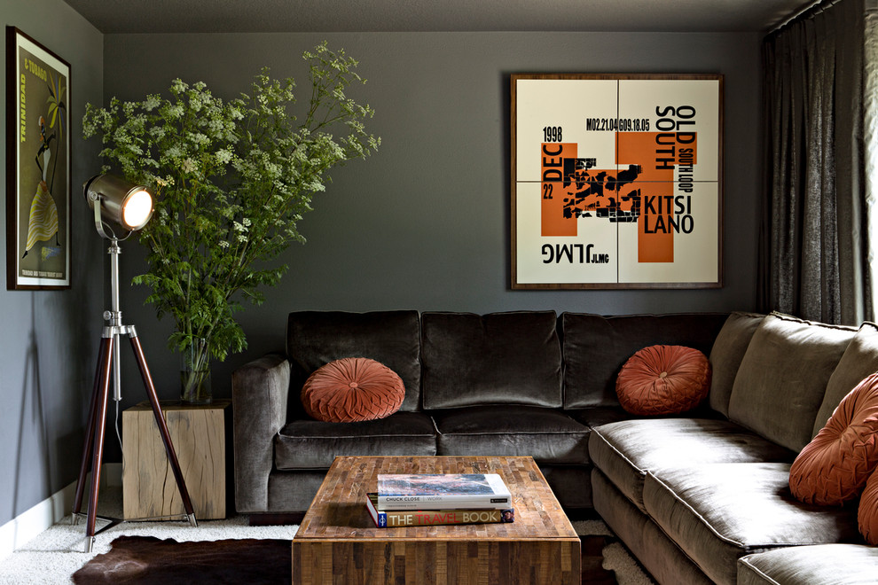 Inspiration for a contemporary family room remodel in Portland with gray walls