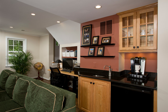 Built In Desk Wet Bar Coffee Bar Traditional Family