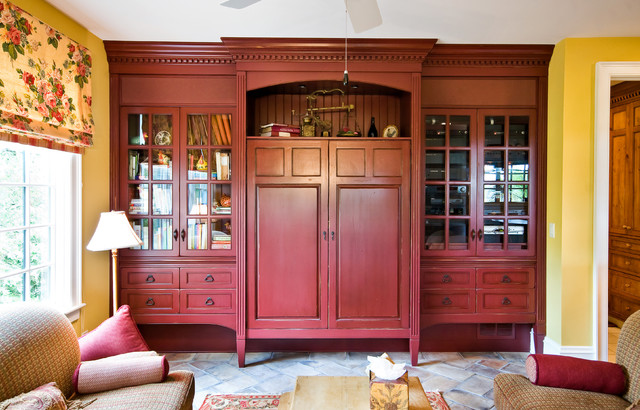 Built in media cabinet traditional family room for Media room built in cabinets