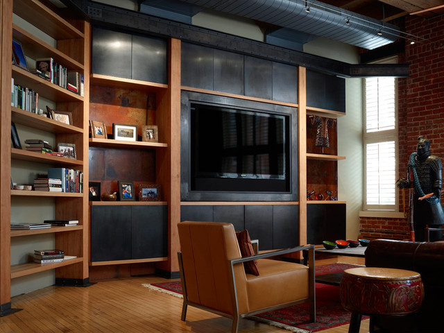 Built In Media Wall Modern Family Room Denver By