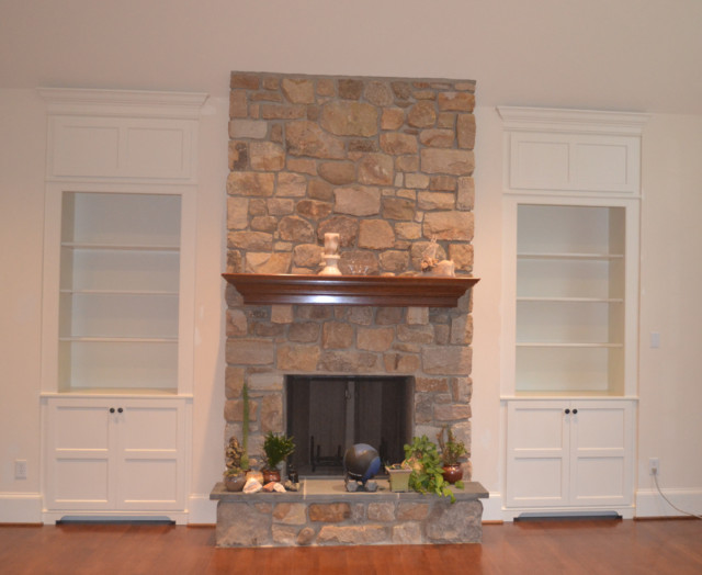 built ins around fireplace contemporary family room