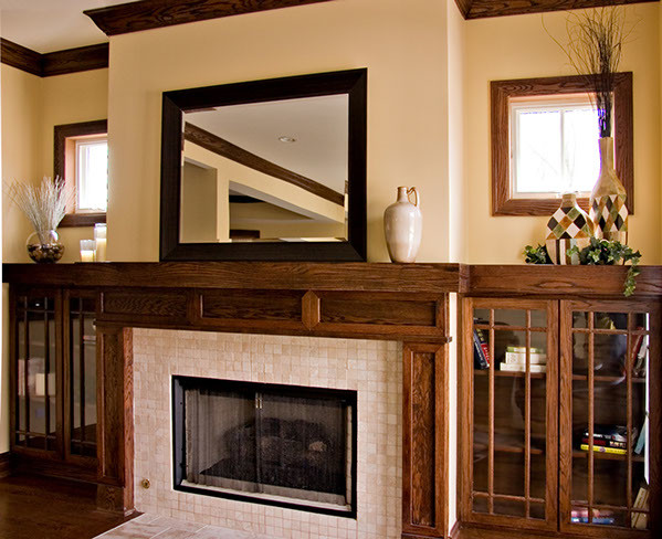 bungalow prairie style custom fireplace craftsman