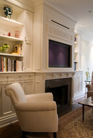 "The cabinets that are built with a tv above a fireplace...would it be possible for a 55"" (tv ..."