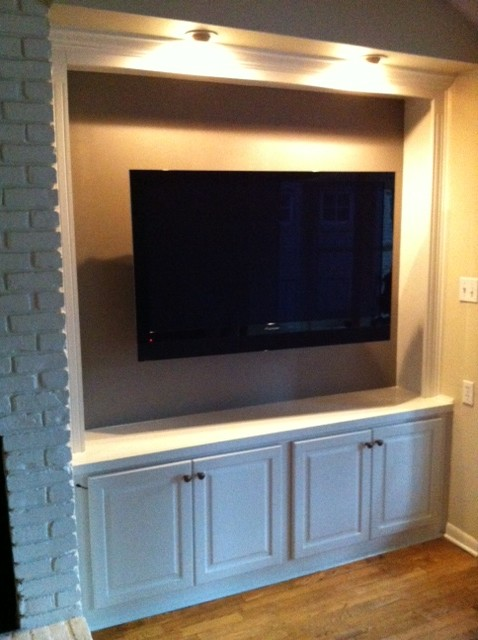 Cabinet remodel TV install - Traditional - Family Room - austin - by AustinAudio.com