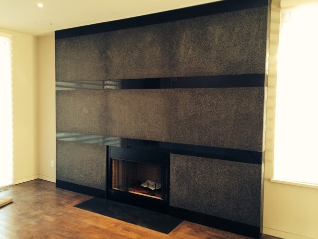 Cambrian Black Granite Fireplace Modern Family Room
