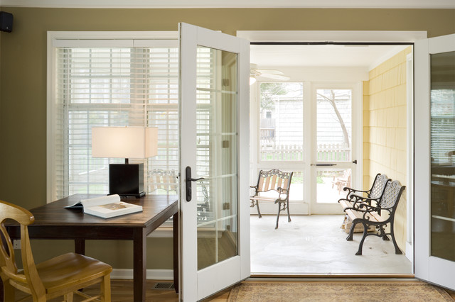 Cape Cod Addition screened porch from family room traditional-family-room