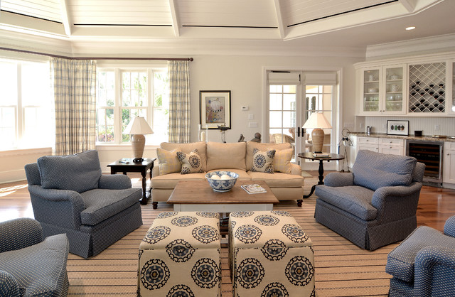 Casual elegance easy living beach style family room for Casual family room decorating ideas