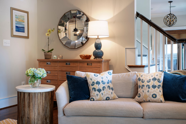 Example of a coastal family room design in New York