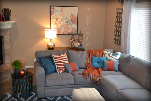 Casual orange blue and gray family room traditional for Grey and orange living room ideas