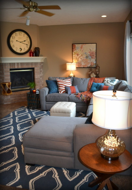 Blue And Orange Living Room Ideas: Casual Orange, Blue And Gray Family Room
