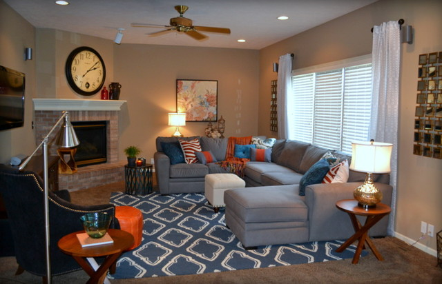 Casual orange blue and gray family room traditional - Gray and orange living room ...
