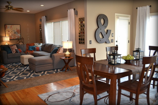 Casual orange blue and gray family room traditional - Orange and brown living room ideas ...