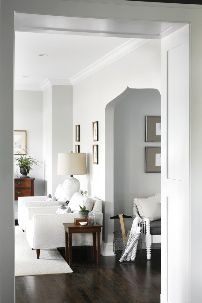 Inspiration for a transitional family room remodel in Chicago with gray walls