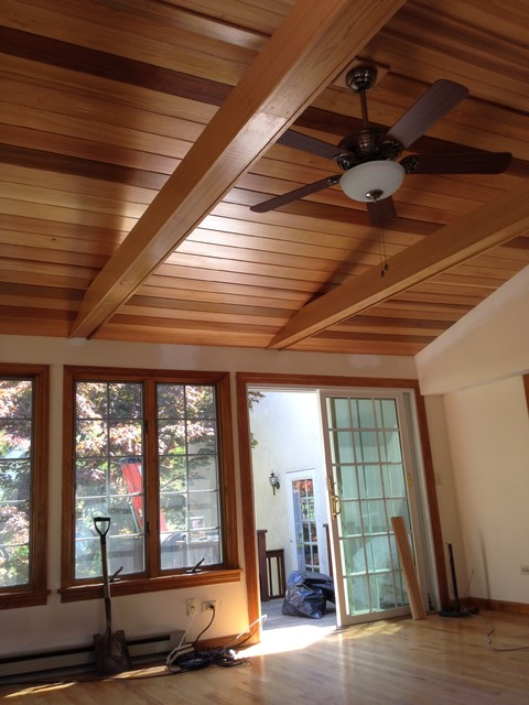 Cedar Ceiling Traditional Family Room Boston By