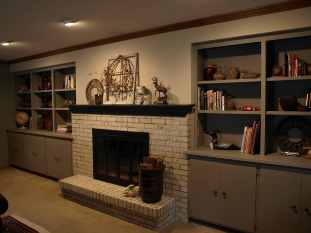 Chalk PaintR Brick Fireplace And Built Ins Traditional Family Room