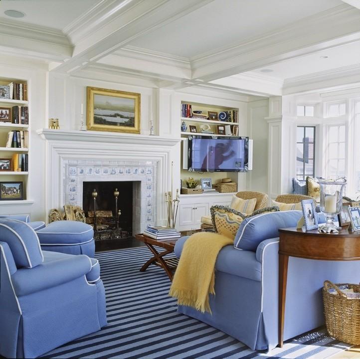 Family room - traditional family room idea in Boston