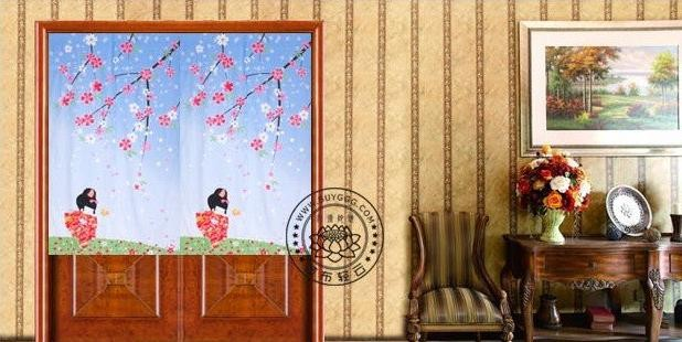 Cherry Blossom Season Japanese Hanging Curtain traditional-family-room