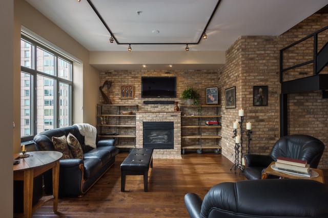 Chicago Loft Renovation Traditional Family Room